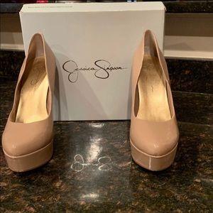 Jessica Simpson Nude/Patent platform High Heels